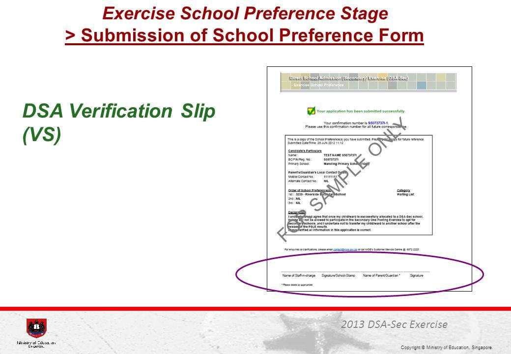 DSA Verification Slip (VS)