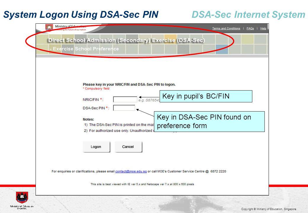 System Logon Using DSA-Sec PIN DSA-Sec Internet System