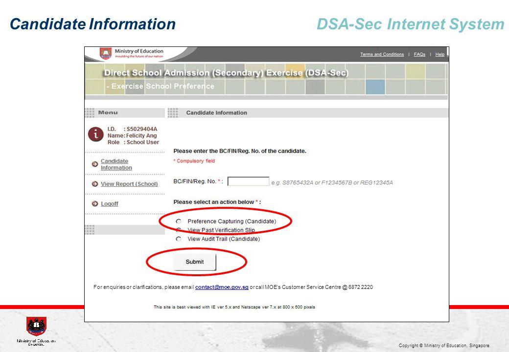 Candidate Information DSA-Sec Internet System