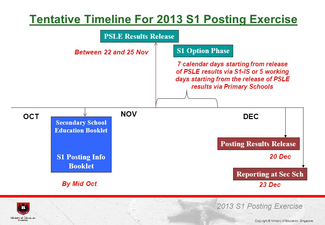 Tentative Timeline For 2013 S1 Posting Exercise