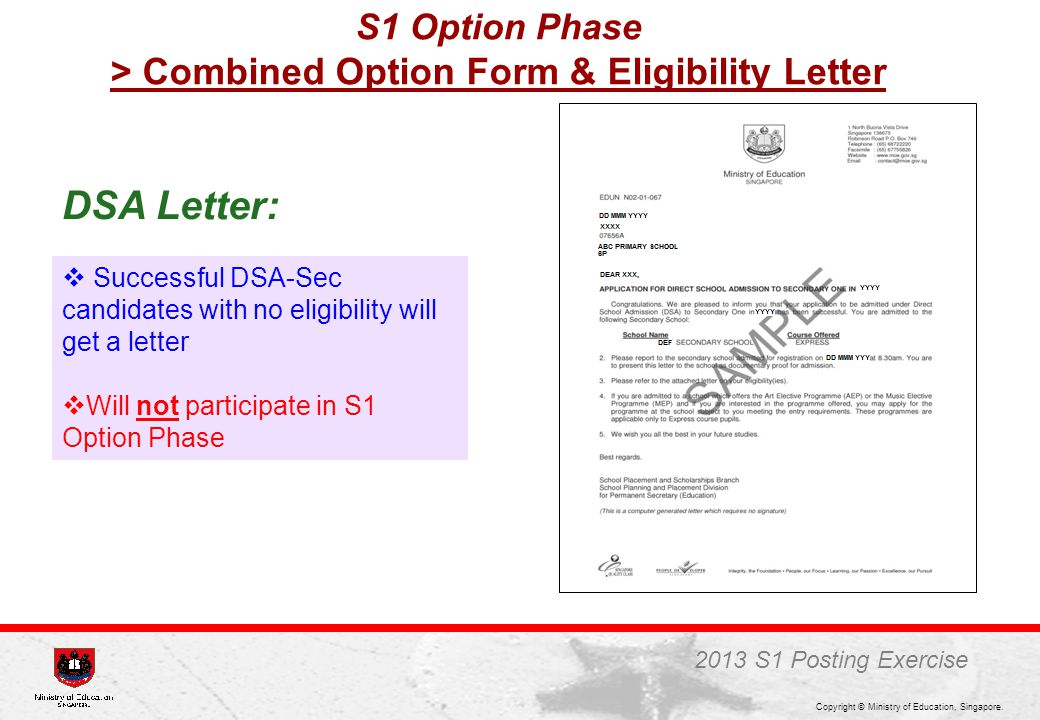 S1 Option Phase > Combined Option Form & Eligibility Letter