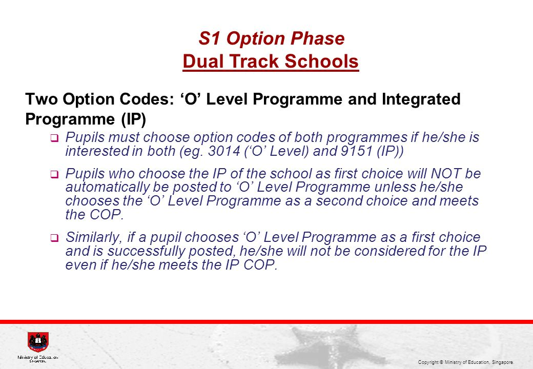 Dual Track Schools S1 Option Phase