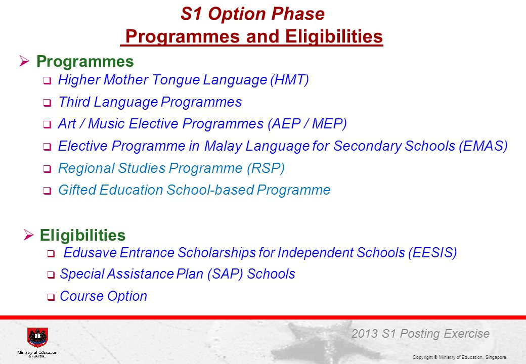 Programmes and Eligibilities