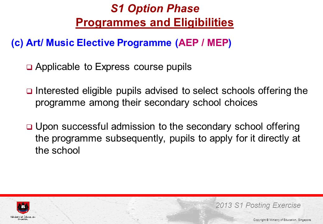 S1 Option Phase Programmes and Eligibilities
