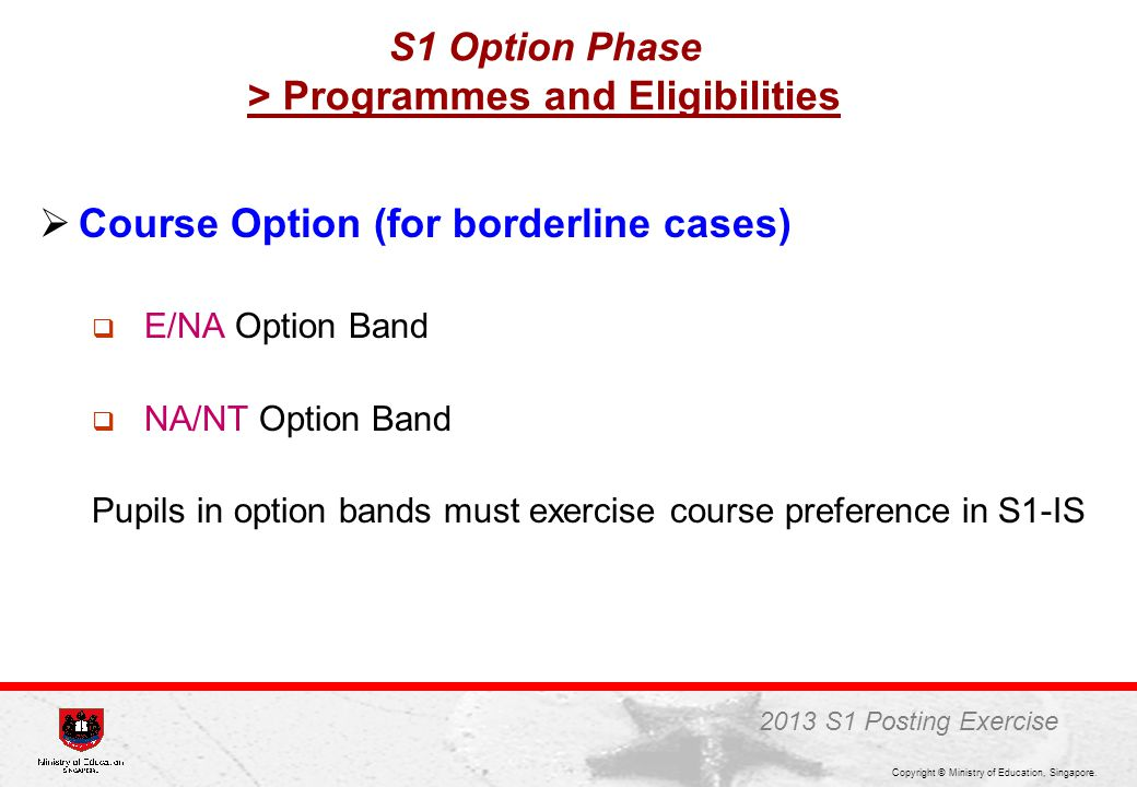 S1 Option Phase > Programmes and Eligibilities