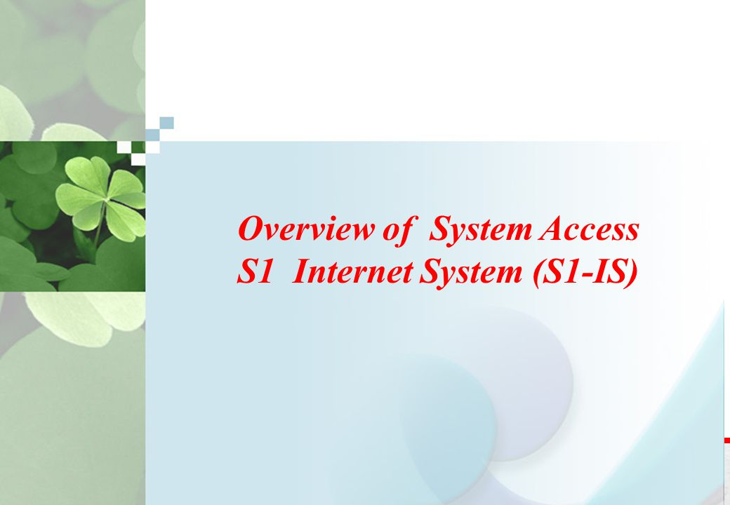 Overview of System Access S1 Internet System (S1-IS)