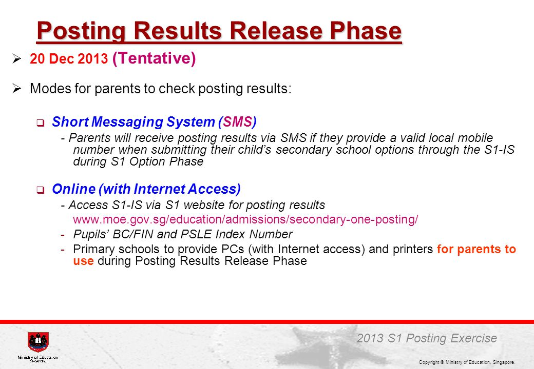 Posting Results Release Phase