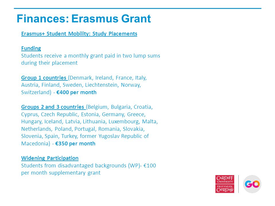 Finances: Erasmus Grant