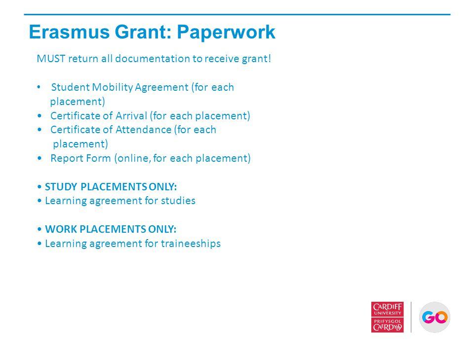 Erasmus Grant: Paperwork