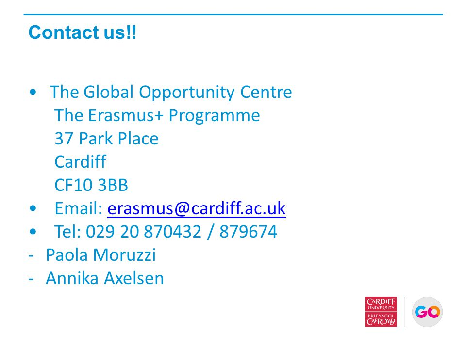 The Global Opportunity Centre The Erasmus+ Programme 37 Park Place