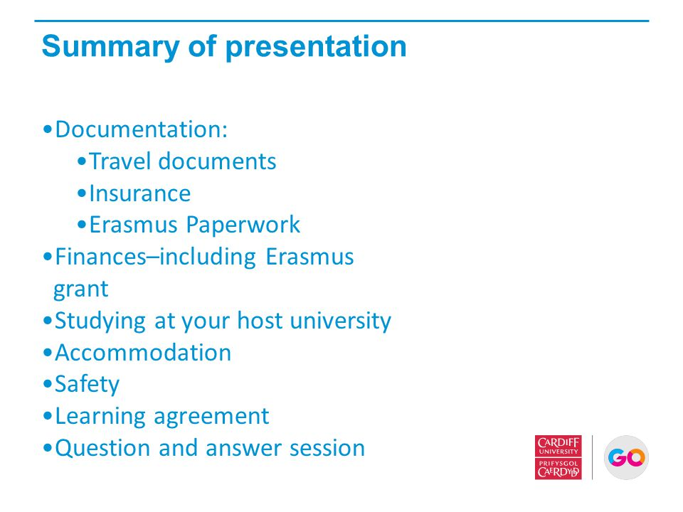 Summary of presentation