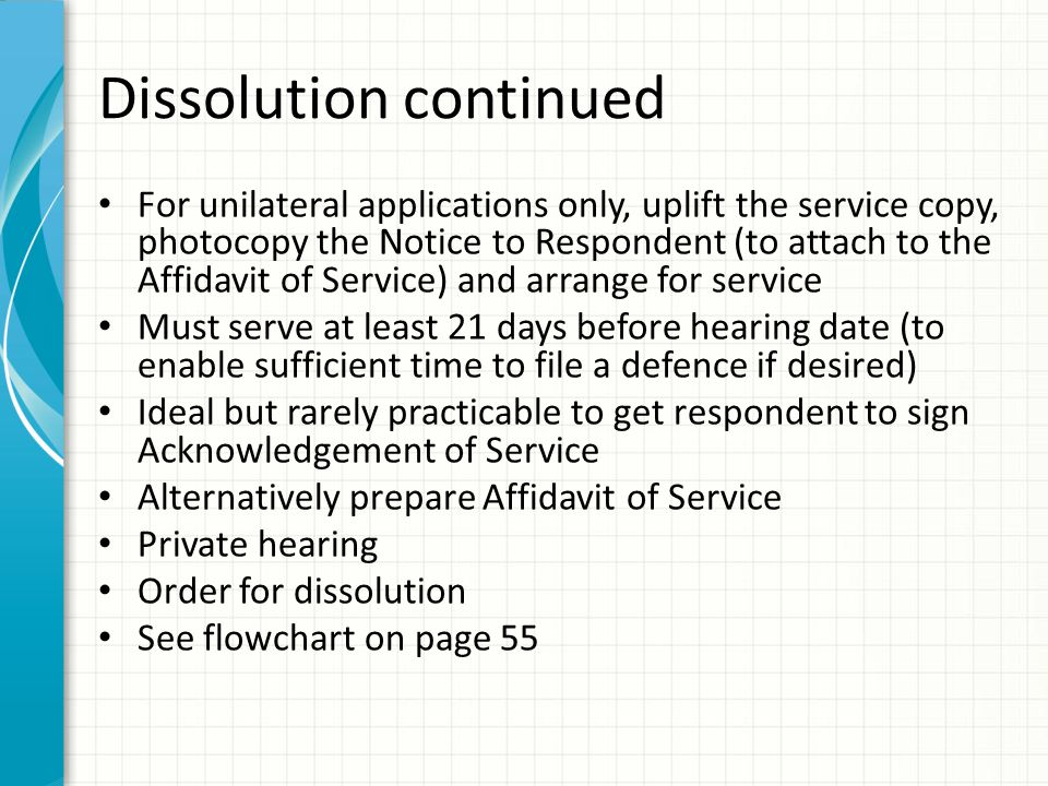 Dissolution continued