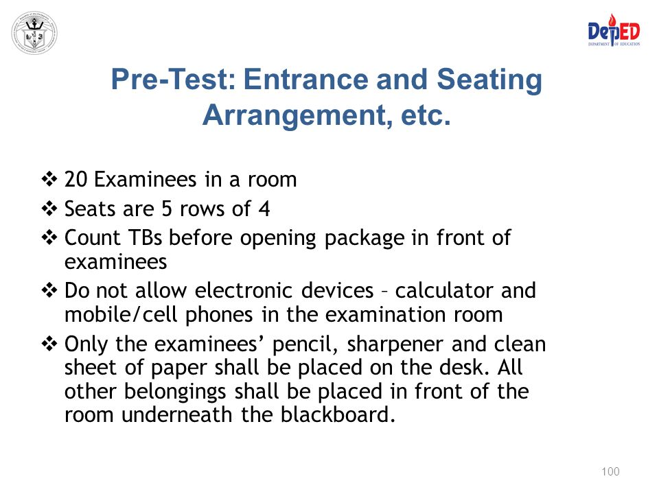 Pre-Test: Entrance and Seating Arrangement, etc.