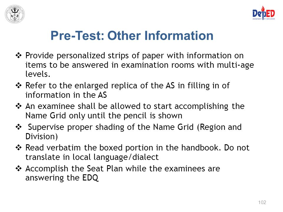 Pre-Test: Other Information