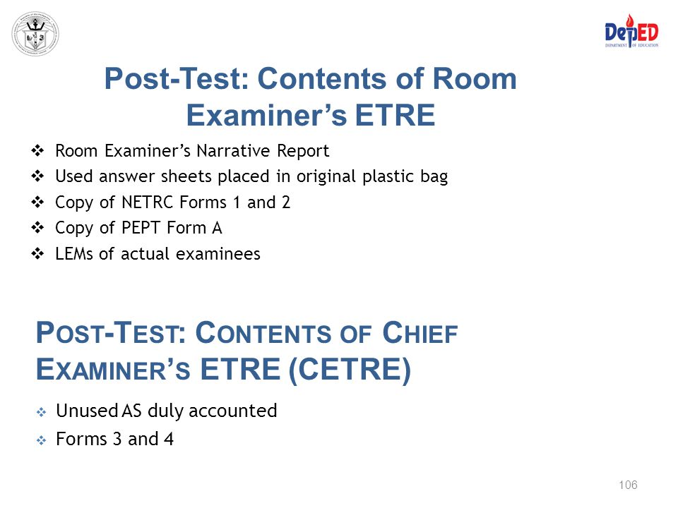 Post-Test: Contents of Room Examiner's ETRE
