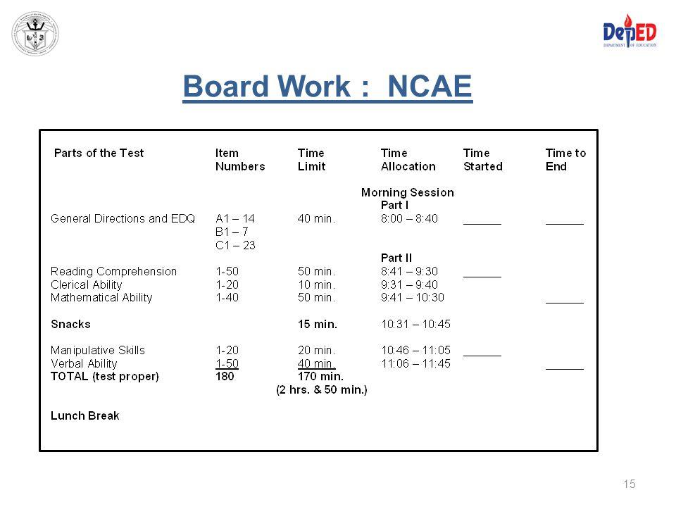 Board Work : NCAE