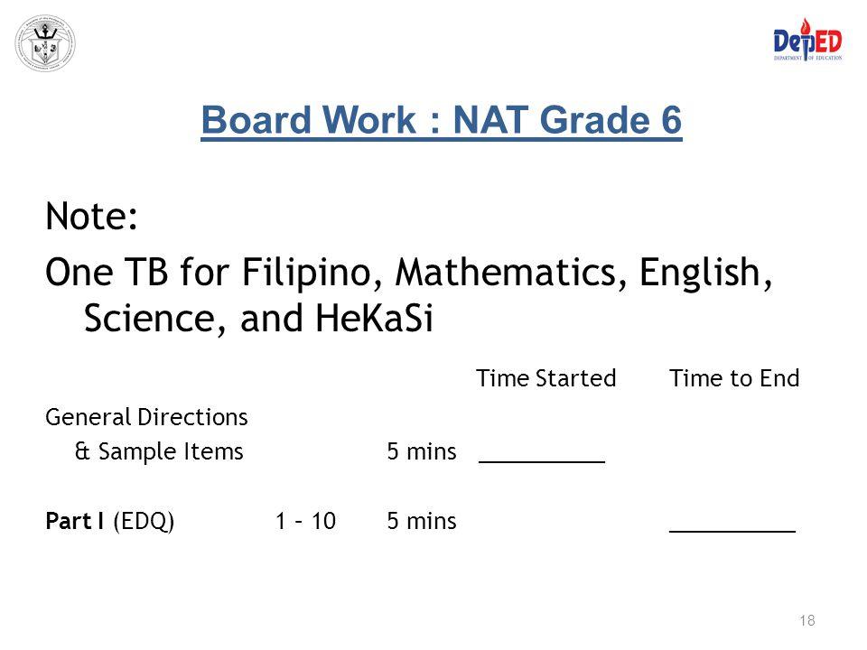 One TB for Filipino, Mathematics, English, Science, and HeKaSi