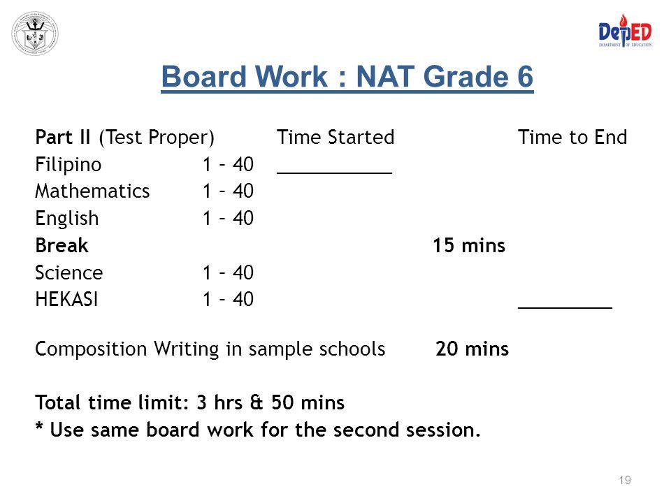 Board Work : NAT Grade 6
