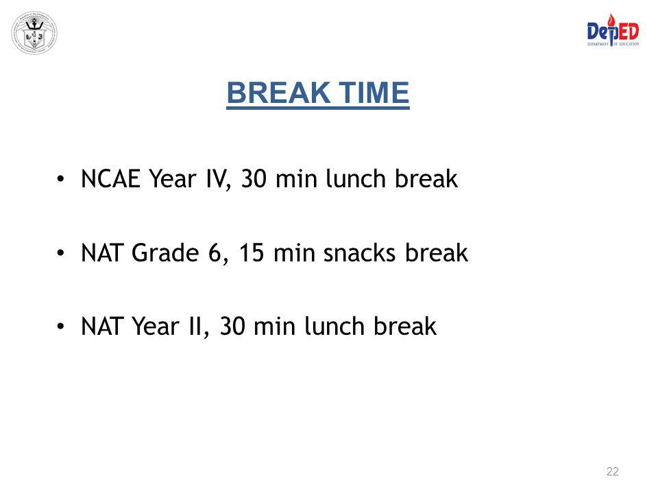 BREAK TIME NCAE Year IV, 30 min lunch break