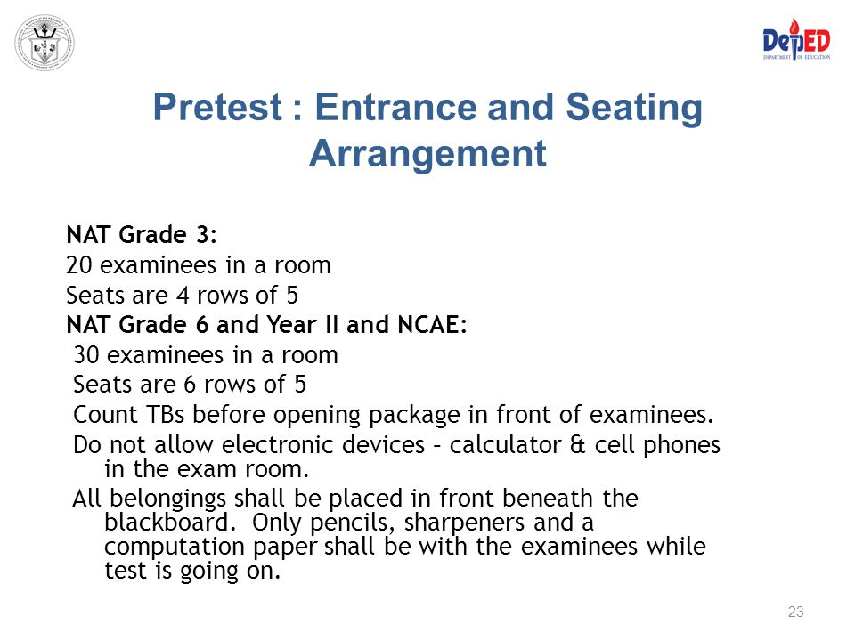 Pretest : Entrance and Seating Arrangement