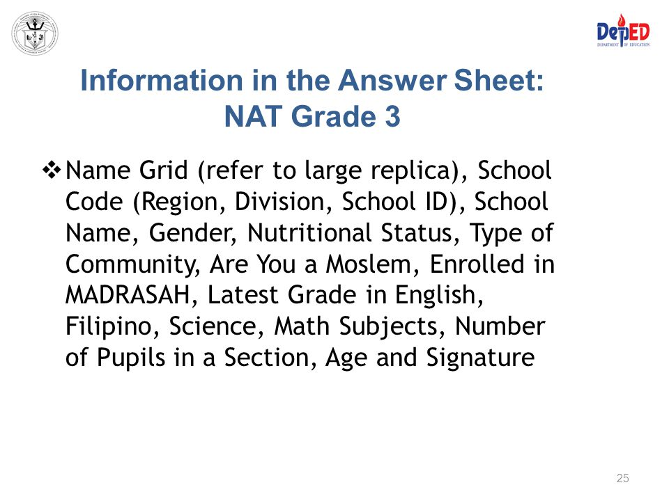 Information in the Answer Sheet: NAT Grade 3