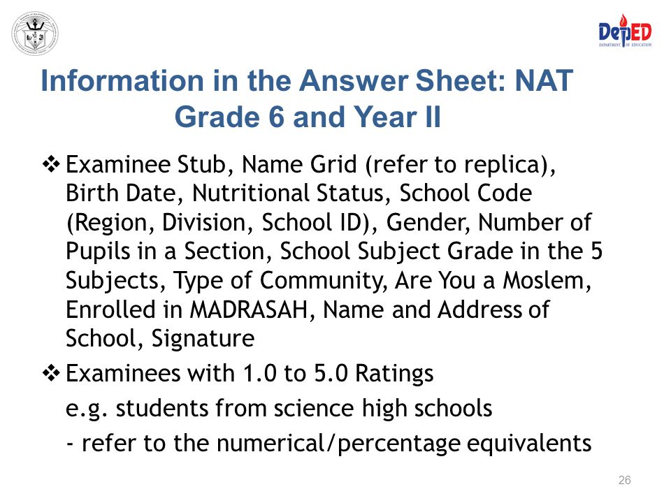 Information in the Answer Sheet: NAT Grade 6 and Year II