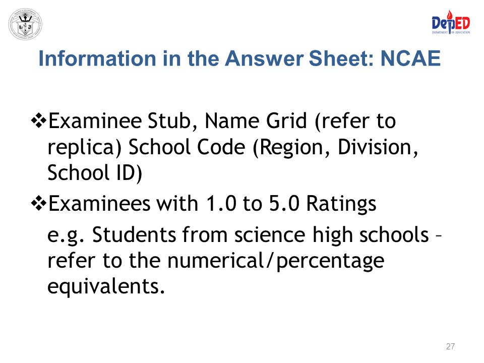 Information in the Answer Sheet: NCAE