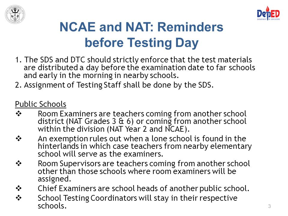 NCAE and NAT: Reminders before Testing Day
