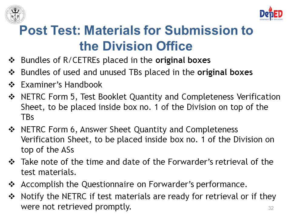 Post Test: Materials for Submission to the Division Office