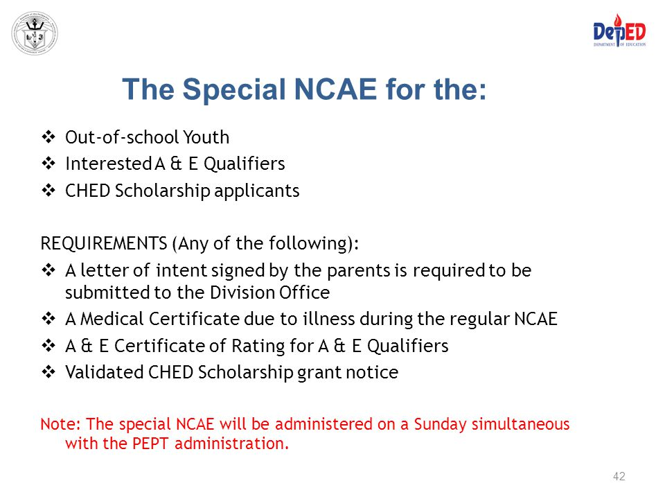 The Special NCAE for the: