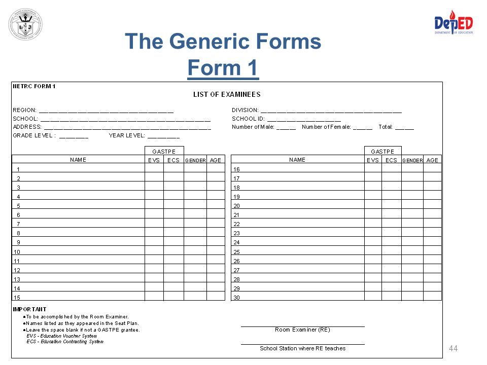 The Generic Forms Form 1