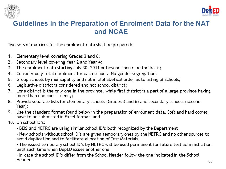 Guidelines in the Preparation of Enrolment Data for the NAT and NCAE