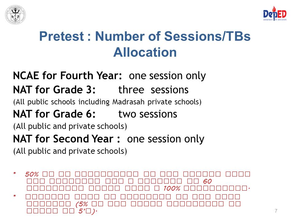 Pretest : Number of Sessions/TBs Allocation
