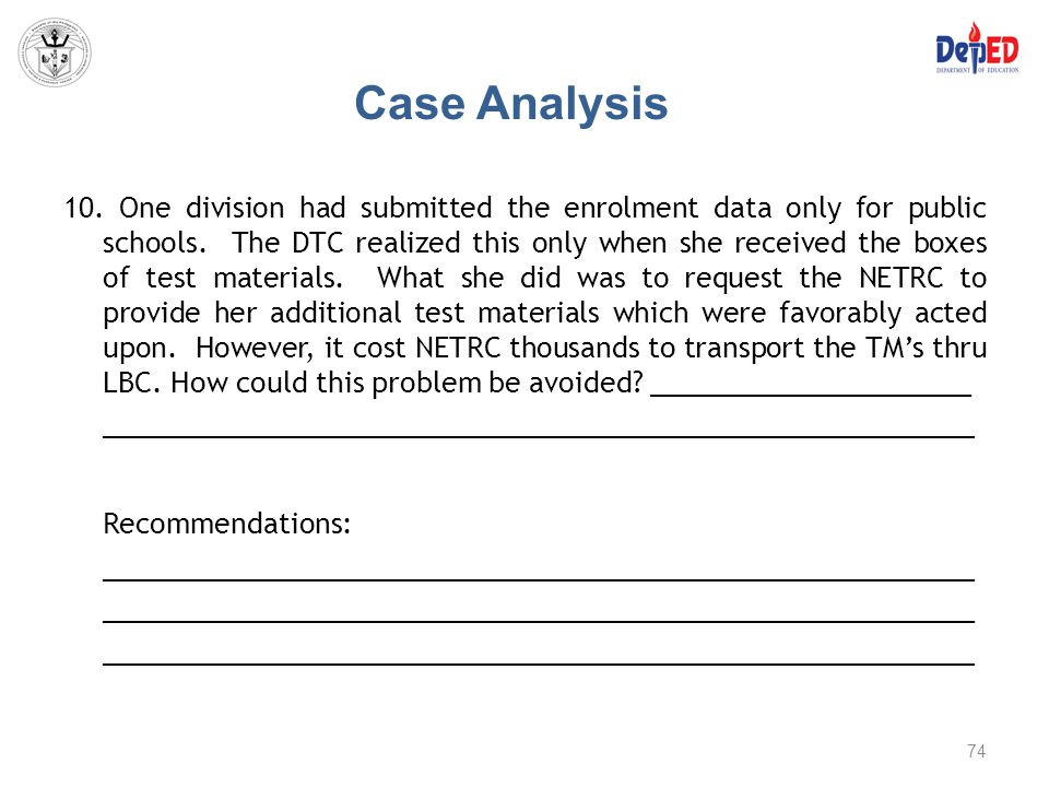 Case Analysis Recommendations: