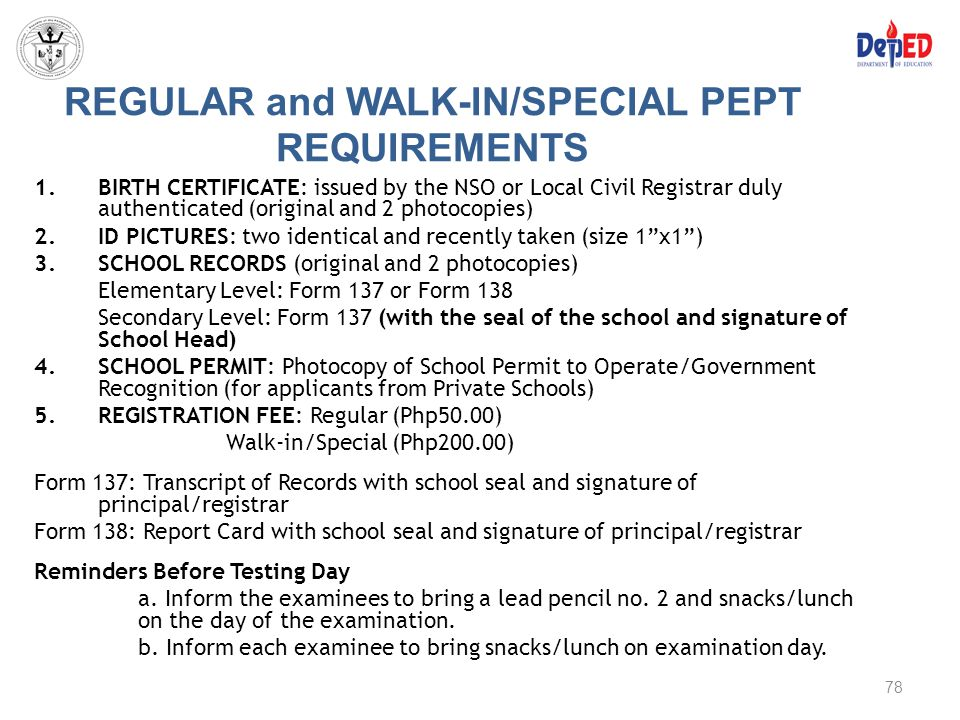 REGULAR and WALK-IN/SPECIAL PEPT REQUIREMENTS