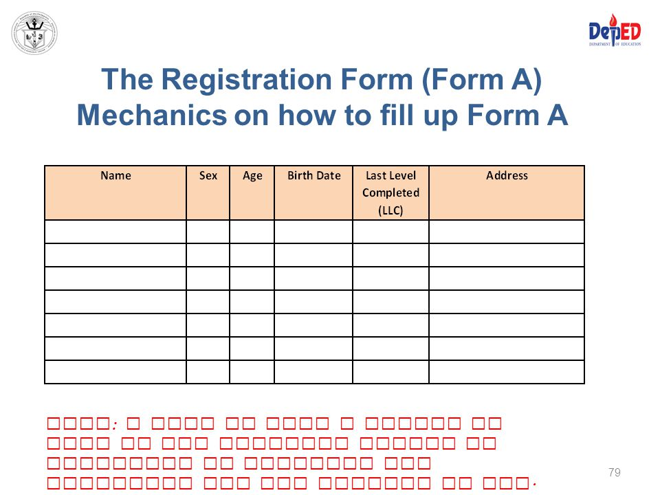 The Registration Form (Form A) Mechanics on how to fill up Form A