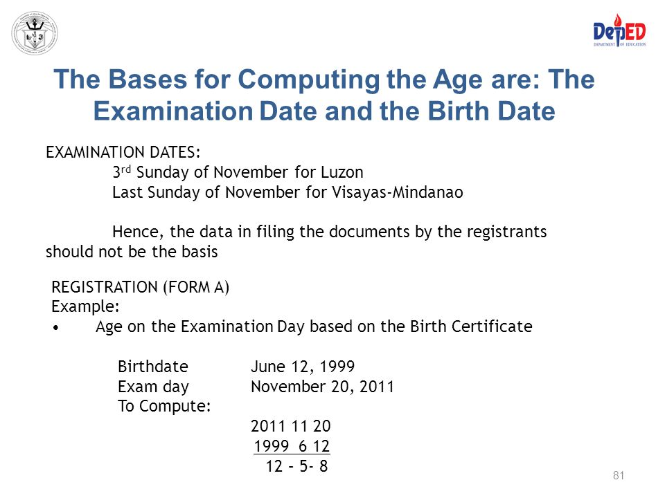 The Bases for Computing the Age are: The Examination Date and the Birth Date