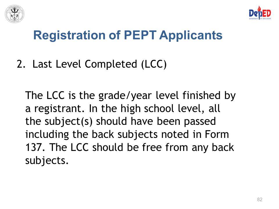 Registration of PEPT Applicants
