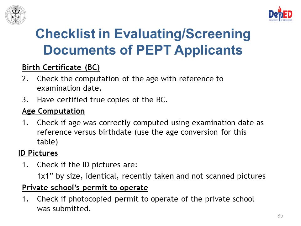 Checklist in Evaluating/Screening Documents of PEPT Applicants