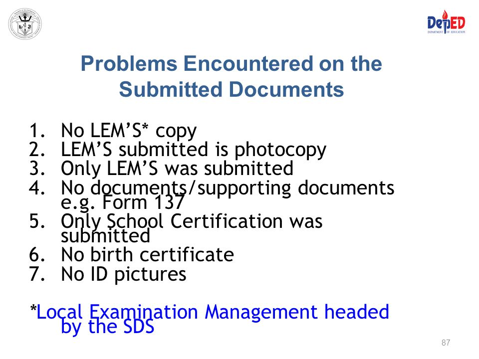 Problems Encountered on the Submitted Documents