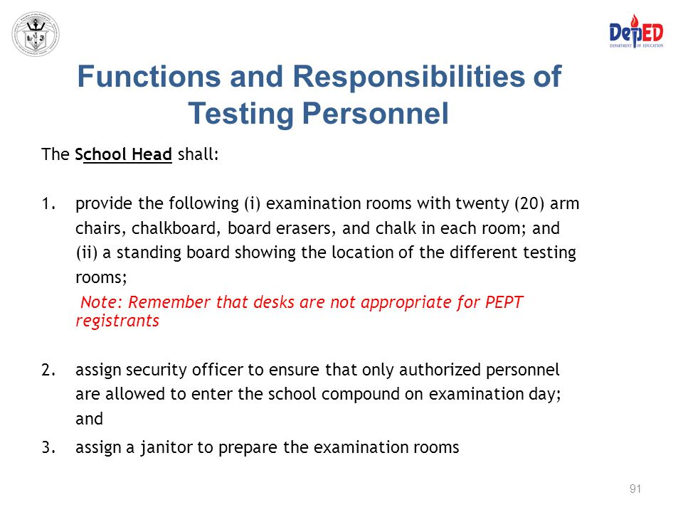 Functions and Responsibilities of Testing Personnel