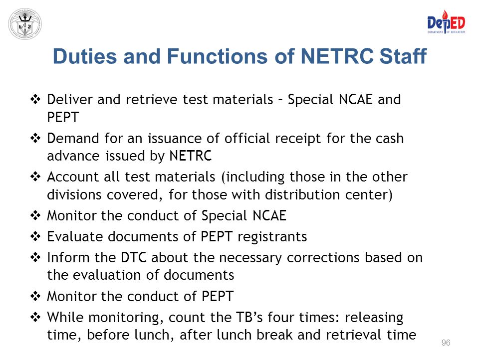 Duties and Functions of NETRC Staff