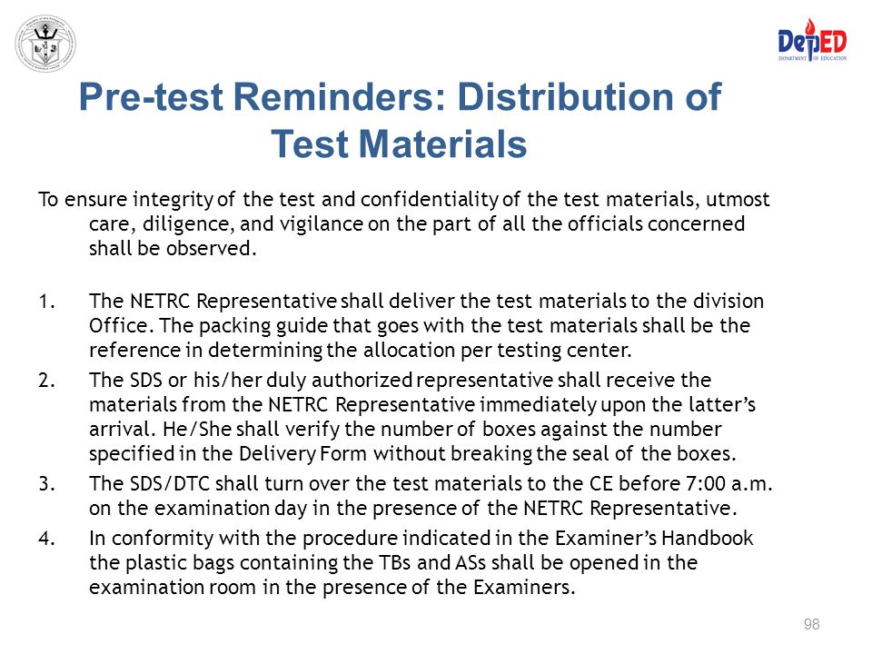 Pre-test Reminders: Distribution of Test Materials
