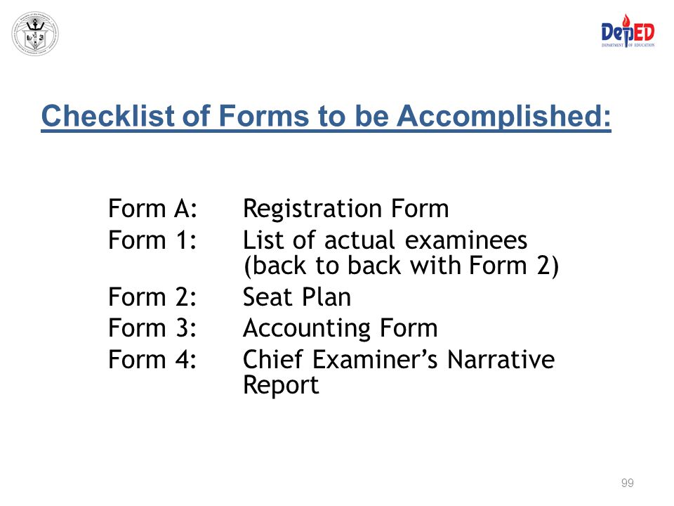 Checklist of Forms to be Accomplished: