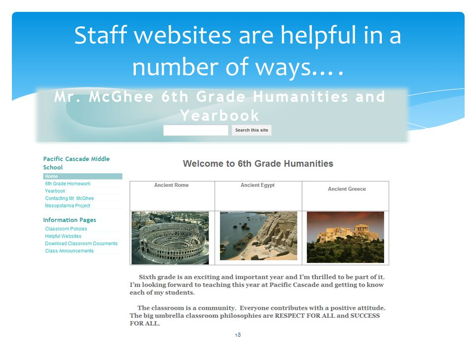 Staff websites are helpful in a number of ways….