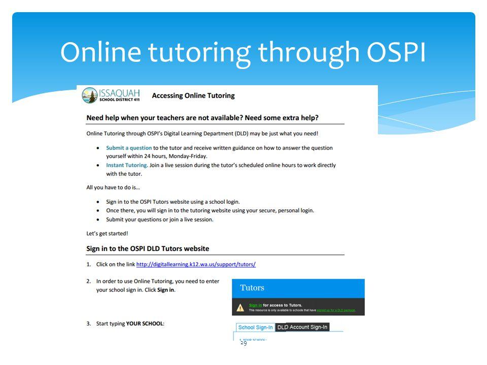 Online tutoring through OSPI