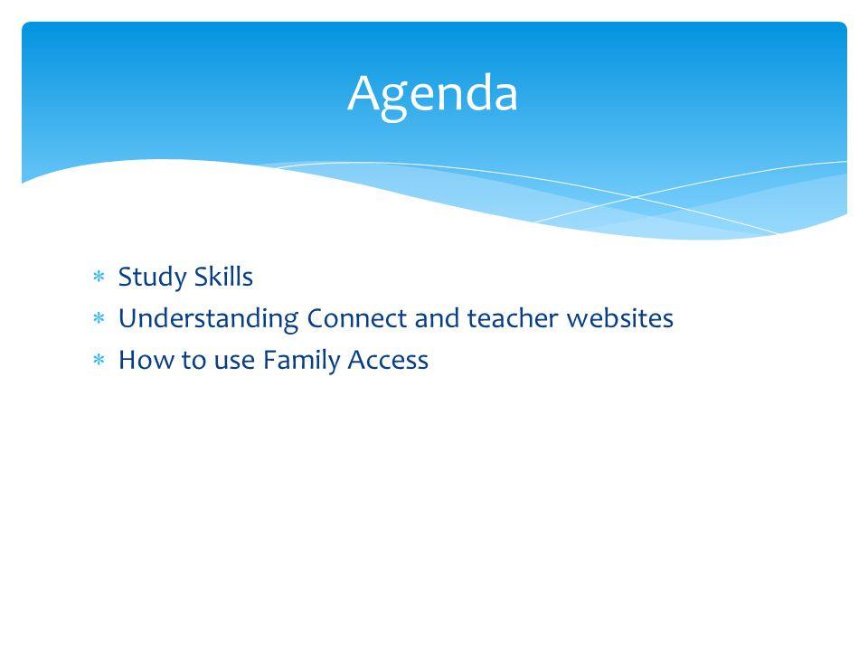 Agenda Study Skills Understanding Connect and teacher websites