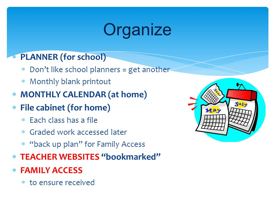 Organize PLANNER (for school) MONTHLY CALENDAR (at home)