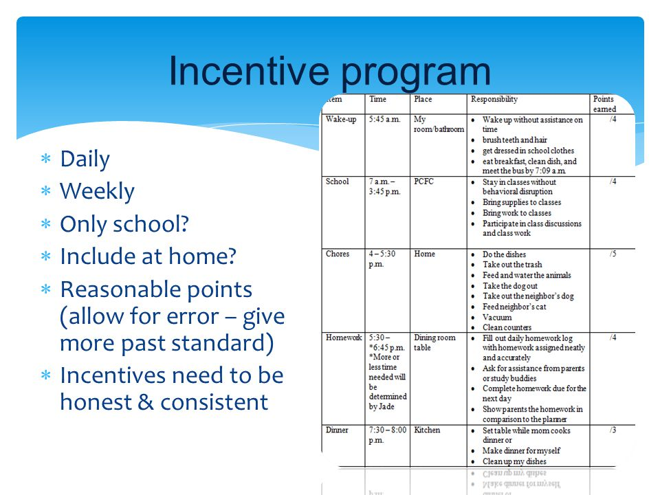 Incentive program Daily Weekly Only school Include at home