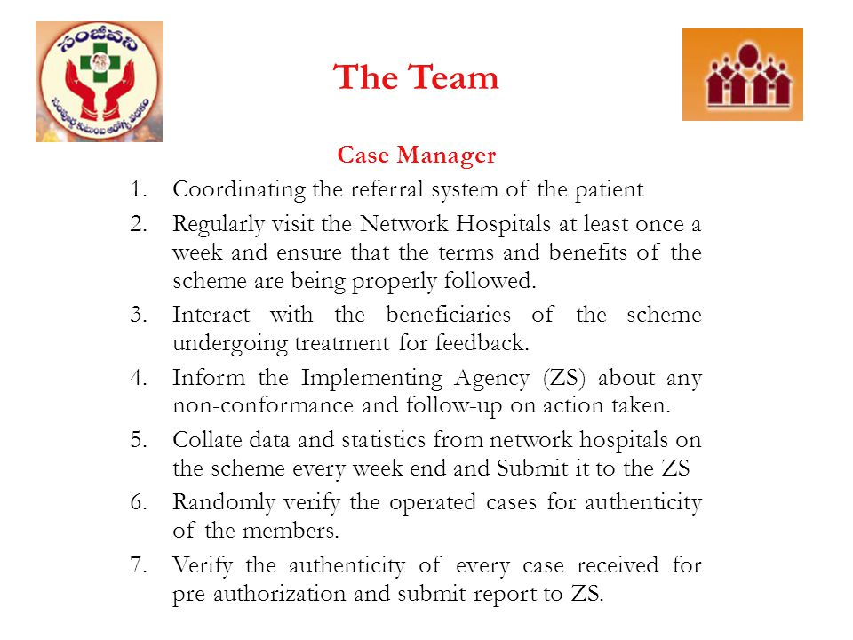 The Team Case Manager Coordinating the referral system of the patient